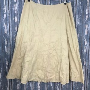 TALBOTS Floral Embroidered Tan Full Skirt Sz 18